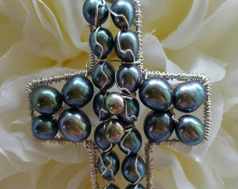 Wire wrapped Sterling silver one-of-a-kind Peacock Pearl Cross Pendant