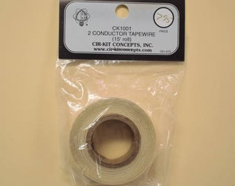 2 conductor tapewire, 15 foot roll, by Cirkit Concepts, lighting for dollhouses, dioramas or other 12 volt models