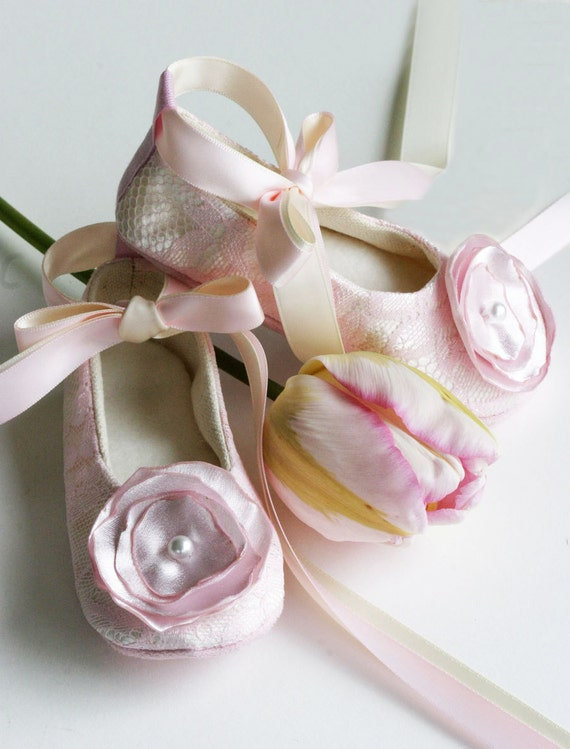 Pink lace flower girl shoes baby ballet slipper toddler mightylinksfo Choice Image