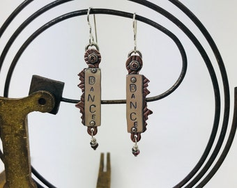 Dance... Sterling Silver and Copper Earrings