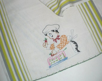 Tea towel, Baker, Embroidery, Vintage, Linen, Cake baker, Cook, Embroidered towel, Kitchen