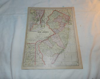 New Jersey Map / New Hampshire + Vermont Map from 1892 New Popular Atlas of the World - 1 Book Page Ready to frame - Vintage Ephemera 31-137