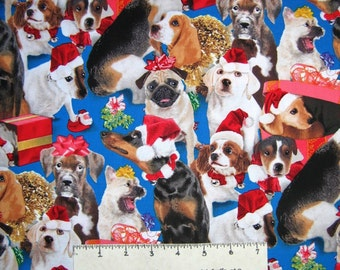 Christmas Fabric - Holiday Friends Dog Allover Blue - Elizabeth's Studio YARD