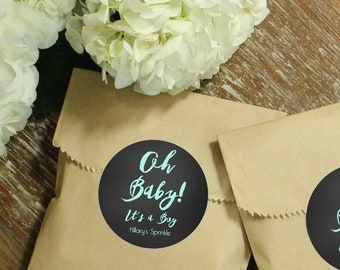 24 Paper Favor Bags - Oh Baby Label | Minimalist Favor Bags | Simple Favor Bags | Kraft Favor Bags | Baby Shower Favors | Funny Baby Shower