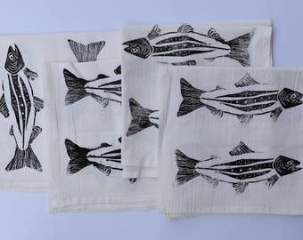 Trout Napkin, Fish Napkin, Block Print Napkin, Eco Friendly Gift, Nature Print, Cotton Flour Sack Napkin, Hostess Gift, Housewarming Present