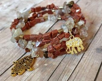 Memory wire bracelet   hamsa bracelet   gemstone bracelet   elephant bracelet   multi wrap bracelet   mother's day gift   wire bracelet