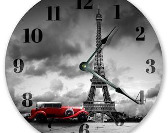 "10.5"" Eiffel Tower Red Car - Large 10.5"" Wall Clock - Home Décor Clock - 3359"