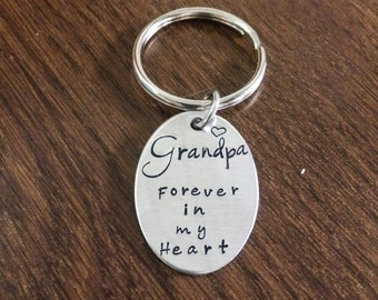 Grandpa Forever in my Heart Oval Tag Keychain -in memory of-keepsake-memorial-sympathy-remembrance-in memory of-condolences-personalized