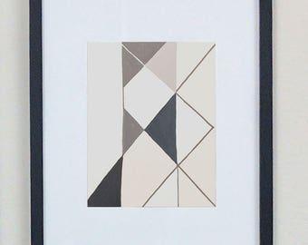 Mid-century style, Geometric art print, Black and white art, asymmetric, triangles, pattern
