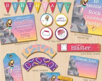 Rock Climbing party invitation and party decorations. Invitation included. LIGHT BROWN climber.