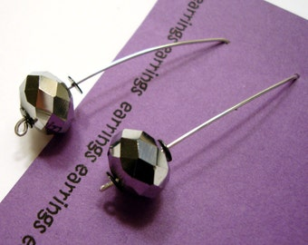 Disco Ball Silver Mirror Arc Earrings
