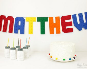 Building Bricks Banner : Handcrafted Custom Phrase Party Decoration | Building Block Birthday Banner | Name Banner