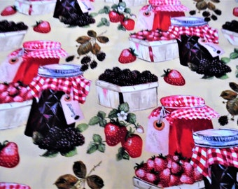 Quilted Fridge N' Oven Handle Covers in Berries n' Preserves Pattern (for Special Request)