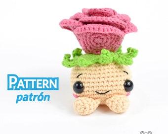 Rose bulb, amigurumi rose, rose pattern, amigurumi pattern, crochet pattern, crochet rose, kawaii amigurumi, kawaii pattern, doll pattern