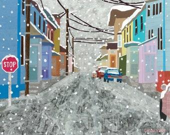 A Town In Winter (Art Print)