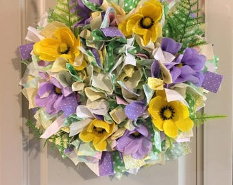 Small Spring Rag Wreath with Yellow and Purple Crocuses (#047)