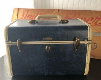 Vintage Train Case, Makeup Case, Samsonite Blue Marbled, Shwayder Bros. Vintage Travel Case