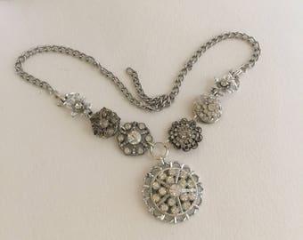 Rhinestone Wedding Necklace, Silver tone, Rhinestone Pendant, Statement, Assemblage necklace, Reclaimed Vintage Jewelry, OOAK