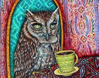 25% off OWL bird art PRINT poster gift modern folk JSCHMETZ  coffee