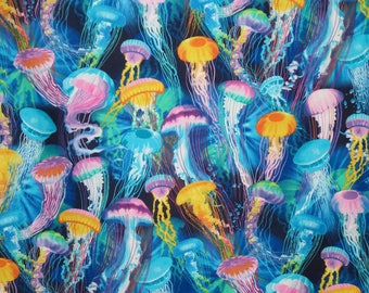 Colorful Jellyfish Print Pure Cotton Fabric--By the Yard