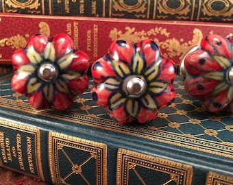Knobs, Red Floral Hand Painted Decorative Pull Knob, Furniture Upgrade Ceramic Drawer Pulls, Cabinet Supplies, Item #599132089