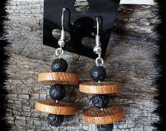Earrings Sandwich #44 lava stone and Bayong wood beads