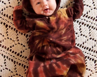 Tie Dye Baby Bear  Bunting in Rich Browns