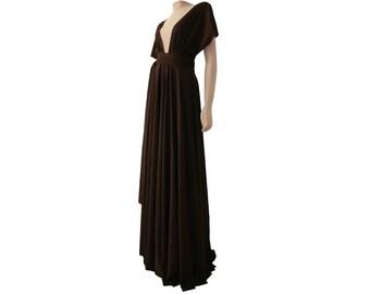 Infinity dress Brown bridesmaids convertible dress Plus size prom maxi dress XS-5XL