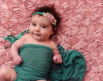 Camdyn - Tie Back Open Halo Headband - Aqua Pink Cream - Raw Silk - Flower Lace - Newborn Baby Girl Infant Adults - Photo Prop