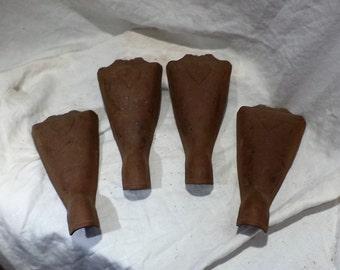 Bathtub Feet, Vintage Cast Metal Tub Feet, Set of 4, Vintage Metal Legs