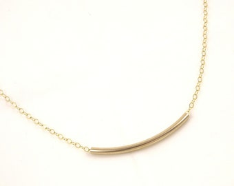 Gold Tube Necklace- Gold Filled Jewelry- Minimalistic Necklace- Dainty Jewelry- Dainty Necklace- Gift for Her- Delicate Jewelry Bar Necklace