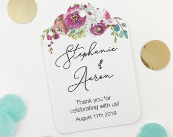 Penelope - Personalized Wedding Tags, Floral Engagement Party Hang Tags (ST-379-012)