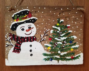 Hand-painted Snowman  with Tree on reclaimed barnwood