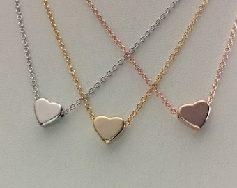 Heart necklace, Dainty necklace, Sweetheart necklace, Valentine jewelry, Delicate necklace,Bridesmaids gift,Heart charm,BFF necklace,gift