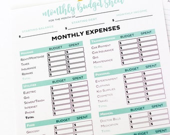 simple monthly budget form