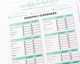 Simple Monthly Budget Worksheets