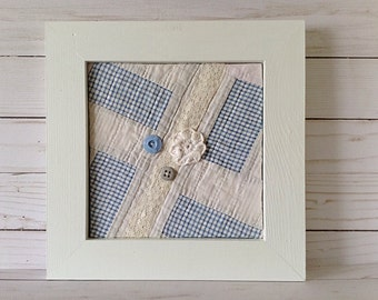 Blue and gray quilt square, blue plaid quilt square, embellished quilt square, quilt in a frame, vintage quilt square, nursery wall art