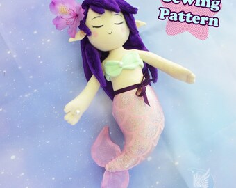 Mermaid Plush Sewing Pattern Plushie Doll PDF Pattern Plushie Sewing Pattern Doll Pattern Merfolk Kawaii Mermaid
