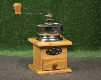 Coffee grinder - Wooden grinder - Coffee mill - Wooden mill with container - Unused