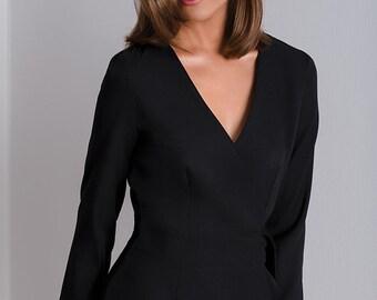 Black classic wrap dress CALA