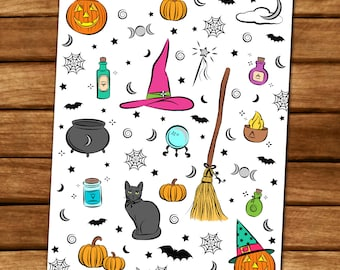 Witchy Halloween Coloring Page