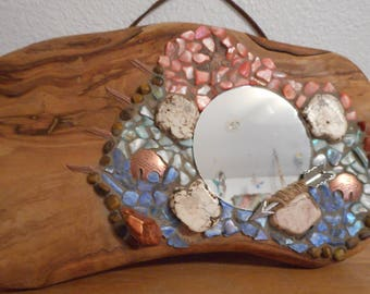 "Mosaic Southwest Style Mirror 11"" L X 6"" H W/ Bears and Arrow"