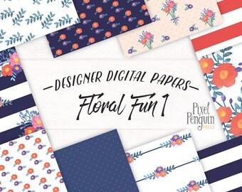 Pink Flower Digital Paper, Floral Background Paper, Watercolor Flower Background Navy Floral Digital Paper, Navy Blue Paper Flower Scrapbook
