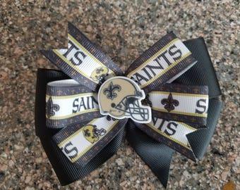 New Orleans Saints hair bow