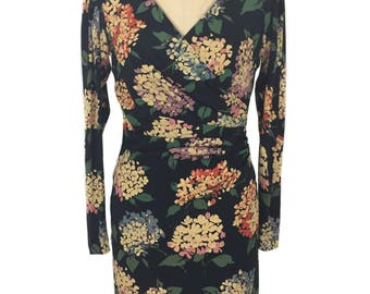 Jahrgang 1980 EMANUEL UNGARO Blumen Kleid / Seide-Mischung / Hortensienblüten / dunkel floral / Damen Vintage Kleid / Umbau Größe 6