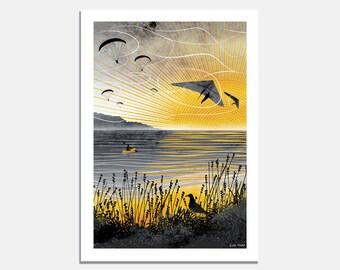 Sunset Flight Art Print / paragliding / hang gliding / summer / sunset / beach / yellow / sun / bird / canoe / kayak / holiday / wallart