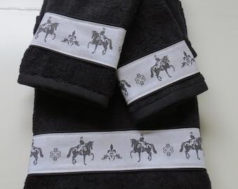 Dressage Horse Set of Bath Towels - Choice of Color - Black, White, Gray, Blue