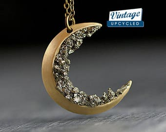 Crushed crystal crescent moon necklace. Genuine vintage crescent moon upcycled with crushed pyrite. Brass gold with long necklace.