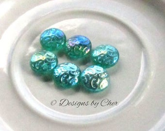 Designed Czech Glass Aurora Borealis Lentil Beads - 14mm Round - Turquoise Green Set of Six New Unused - DeStash Beads