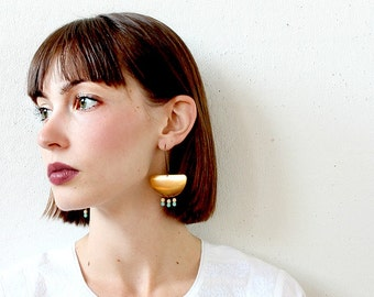 Chandelier earrings, Big Brass Earrings, Brass earrings, Statement earrings, Fringe earrings, Dramatic earrings, Beaded chandelier earrings